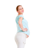 Pregnant woman in blue t-shirt Stock Images