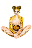Pregnant woman with body-art as leopard Royalty Free Stock Photo