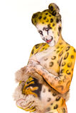 Pregnant woman with body-art as leopard Royalty Free Stock Image