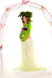 Pregnant woman with body-art with green leaves Stock Image