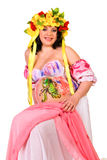 Pregnant woman with body-art with littlle dragon Royalty Free Stock Image