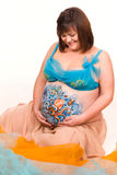 Pregnant woman with body-art of sea life Royalty Free Stock Image