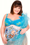 Pregnant woman with body-art of sea life Royalty Free Stock Images