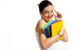 The pregnant woman with books Stock Image