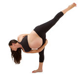 Pregnant Woman in Bound Half Moon Yoga Pose Royalty Free Stock Photos