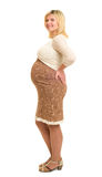 Pregnant woman in brown dress Stock Images