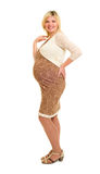 Pregnant woman in brown dress Royalty Free Stock Photos