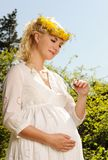 Pregnant woman with a butterfly Stock Photos