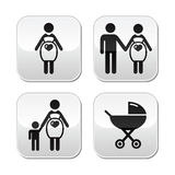 Pregnant woman buttons set. Motherhood, pregnancy, family, single parenting modern grey square buttons set Royalty Free Stock Photos