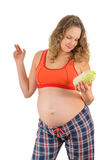 Pregnant woman with cabbage Royalty Free Stock Photography