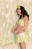 Pregnant woman in cabbage measure your stomach Stock Image
