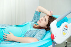 Pregnant woman in childbirth Stock Image