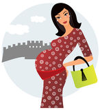 Pregnant woman in China royalty free illustration