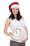 Pregnant woman with clock Royalty Free Stock Images