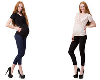 The pregnant woman in composite image isolated on white Stock Image