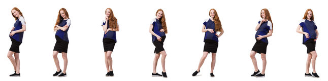 The pregnant woman in composite image isolated on white Royalty Free Stock Photo