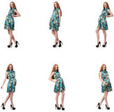 The pregnant woman in composite image isolated on white Royalty Free Stock Photos