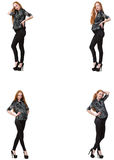 The pregnant woman in composite image isolated on white Royalty Free Stock Images
