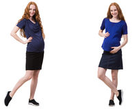 The pregnant woman in composite image isolated on white Royalty Free Stock Image