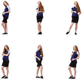 The pregnant woman in composite image isolated on white Stock Photography