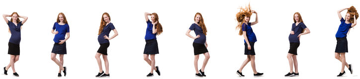 The pregnant woman in composite image isolated on white Stock Images
