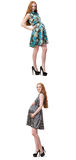 The pregnant woman in composite image isolated on white Royalty Free Stock Photography