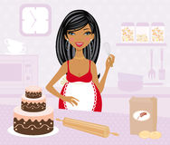Pregnant woman cooking stock illustration