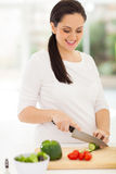 Pregnant woman cooking Royalty Free Stock Photos