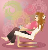 Pregnant woman with cup.  Royalty Free Stock Images