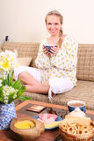 Pregnant woman with a cup of tea Royalty Free Stock Images