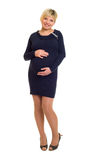 Pregnant woman in dark dress. Royalty Free Stock Photos