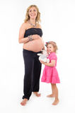Pregnant woman and daughter together Royalty Free Stock Photography
