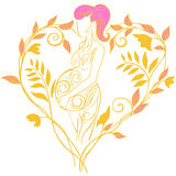 Pregnant. Woman in the decorative pattern in profile Royalty Free Stock Image