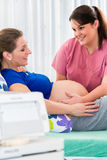 Pregnant woman in delivery room with CTG monitoring Royalty Free Stock Images