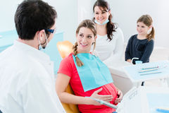 Pregnant woman at dentist before treatment. Pregnant women at dentist before treatment Royalty Free Stock Image