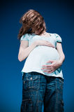 Pregnant woman in depression Stock Photo