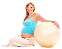 Pregnant woman do sport. Royalty Free Stock Images