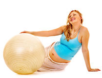 Pregnant woman do sport. Stock Images