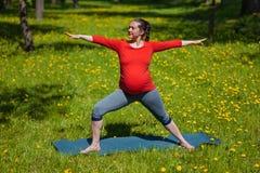 Pregnant woman doing asana Virabhadrasana outdoors Royalty Free Stock Photography