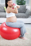 Pregnant woman doing bicep muscle exercises using dumbbells whil Stock Photography