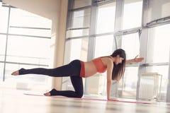 Pregnant woman doing Pilates exercise Stock Photography