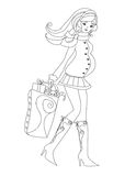 Pregnant woman doing some winter shopping. Vector Illustration Royalty Free Stock Photo
