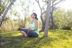 Pregnant woman doing sport in summer evening outdoors Royalty Free Stock Photography