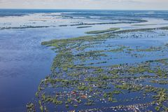 Flooded terrain in lowlend of Great river royalty free stock image