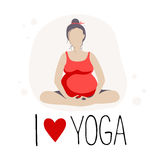 Pregnant woman doing Yoga.Batterfly or lotus Pose Stock Photo