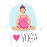 Pregnant woman doing Yoga.Batterfly or lotus Pose Royalty Free Stock Image