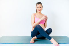 Pregnant woman doing yoga Royalty Free Stock Image