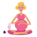 Pregnant woman doing yoga - isolated on white. Pregnant woman in lotus pose. Vector Illustration Royalty Free Stock Photo