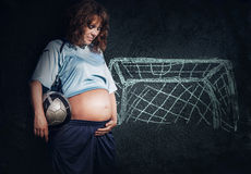Pregnant woman dreams about little son Royalty Free Stock Photography