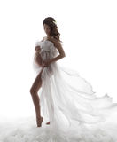 Pregnant Woman Dress, Pregnancy Maternity Concept, Beautiful Wav. Ing Flying Gown stock images